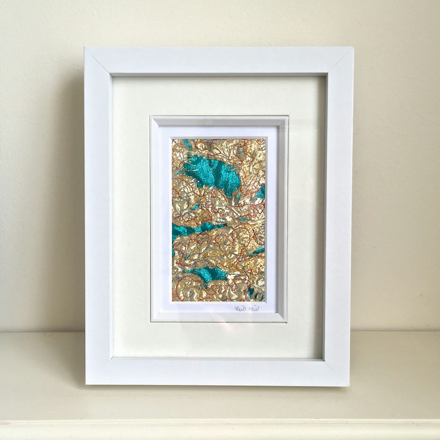 Abstract embroidered textile framed fabric picture