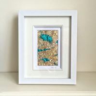 Abstract embroidered textile framed fabric picture art