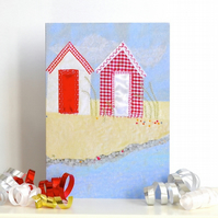 Birthday card for mum - Red Beach Huts A6