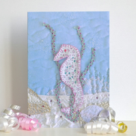 Birthday card - or thank you, new baby, invitation etc - blank seahorse card