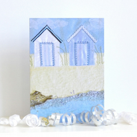 Beach Huts card - blank so use for birthday, thank you, new baby, invitation etc