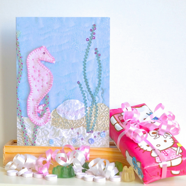 Birthday card - seahorse, girl, first baby, first birthday, birthday 1