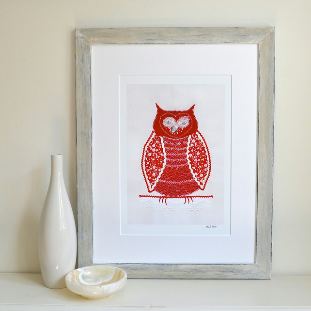 Special offer - 3 FREE cards - Little Red Owl mounted print