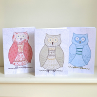 SALE 6 Teacher's thank you card set - owl thank you cards- teaching assistant