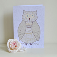 A5 Girl or boy birthday card - brown owl