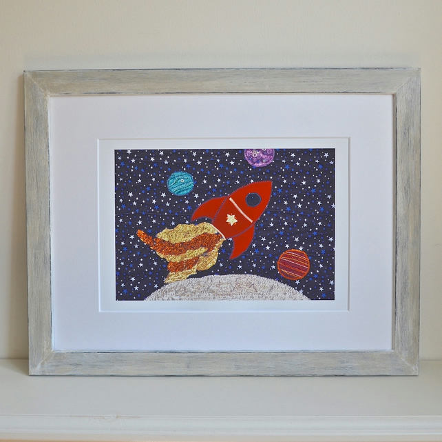 Hand-finished glitters Space ship Rocket ship picture