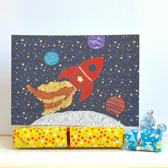SALE Birthday card - space stellar spaceship - rocket - planets moon boy girl