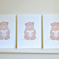 Personalised A4 Teddy bear print