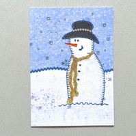 SALE Christmas snowman card