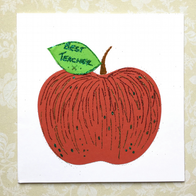 Personalised Teacher Apple Thank you card