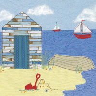 SALE Beach Hut birthday card - thank you, note, seaside, invitation
