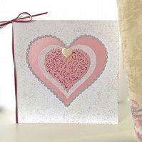 Large Birthday card - handmade, heart glitter birthday card