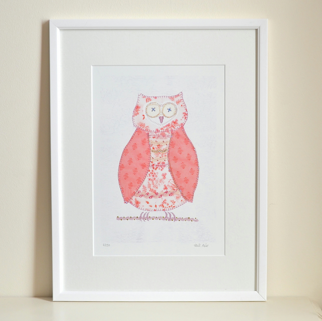 Owl picture with 3 FREE Owl cards - mounted pink owl print