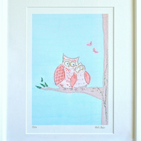 Owl picture with 3 FREE Owl cards - mounted sleepy owl print