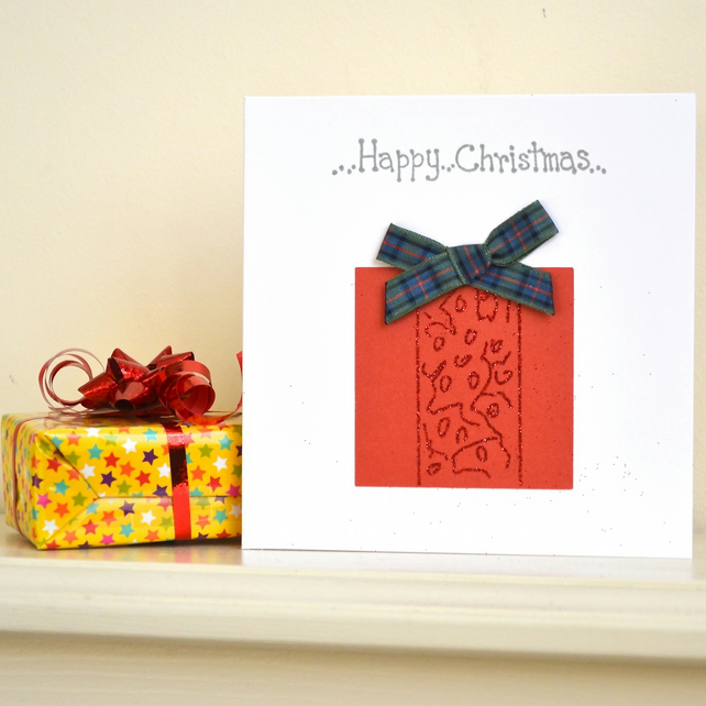 Christmas card - handmade with tartan bow