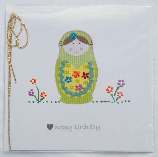 Birthday card - babushka russian doll