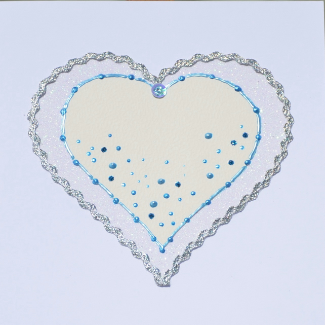 Birthday card - handcrafted luxury heart