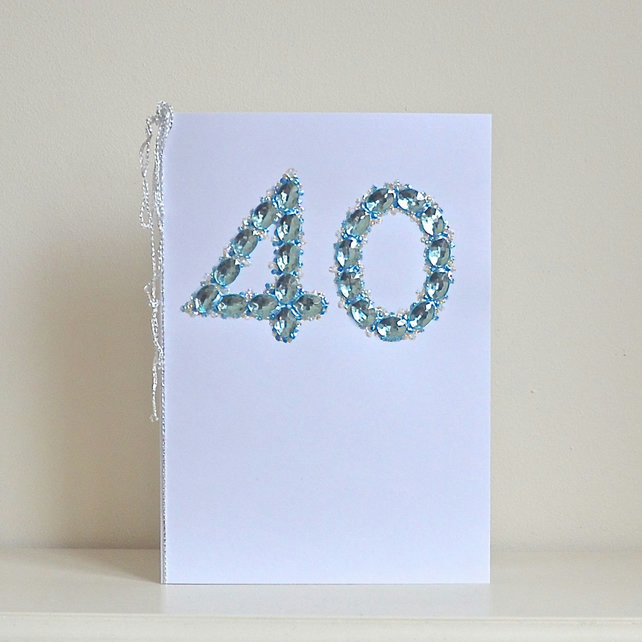 SALE 40 Birthday card - luxury faux sapphires