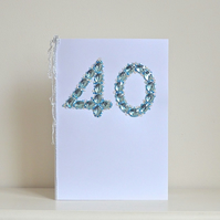40 Birthday card - luxury faux sapphires