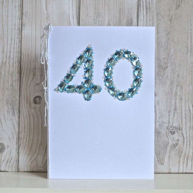 SALE.   40 Anniversary card - luxury faux sapphires