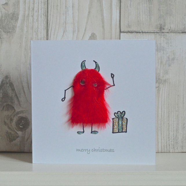 Christmas card - fun furry mini monster!