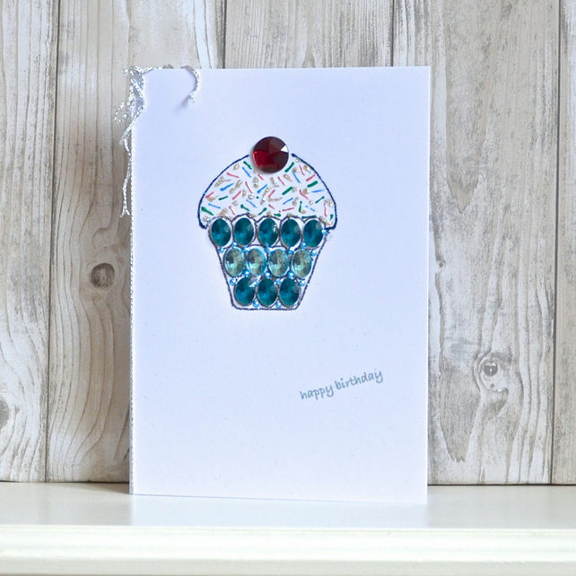 Birthday card - jewelled cupcake