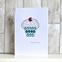 SALE Birthday card - A5 jewelled cup cake birthday card afternoon tea