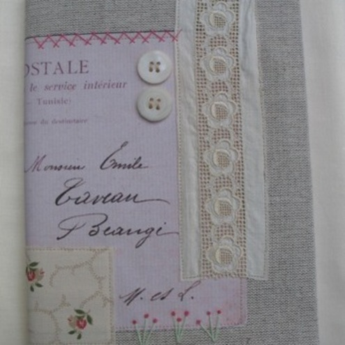 A5 - Shabby Chic Vintage Inspired Fabric Covered Notebook Journal