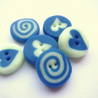 6 Glow in the Dark, Blue, Heart Buttons