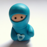 Little Turquoise Ninja with Heart