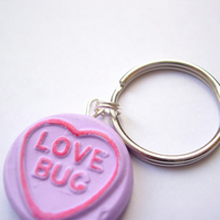 Purple Loveheart Keyring