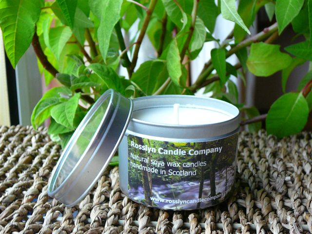 Natural soya wax candles handmade in Scotland: Roslin Glen