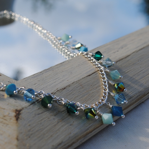Sale-Turquoise swarovski crystal sparkle charm necklace