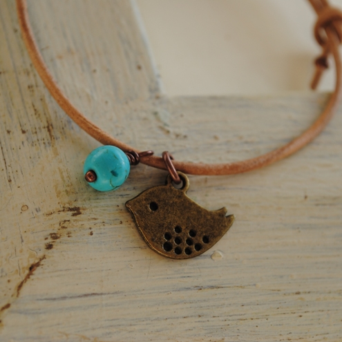 Friendship Bracelet-Natural leather & copper bird friendship bracelet
