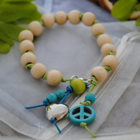 Sale-Wood, lime & turquoise bracelet