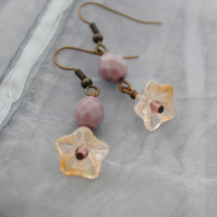 Purple & champagne flower earrings