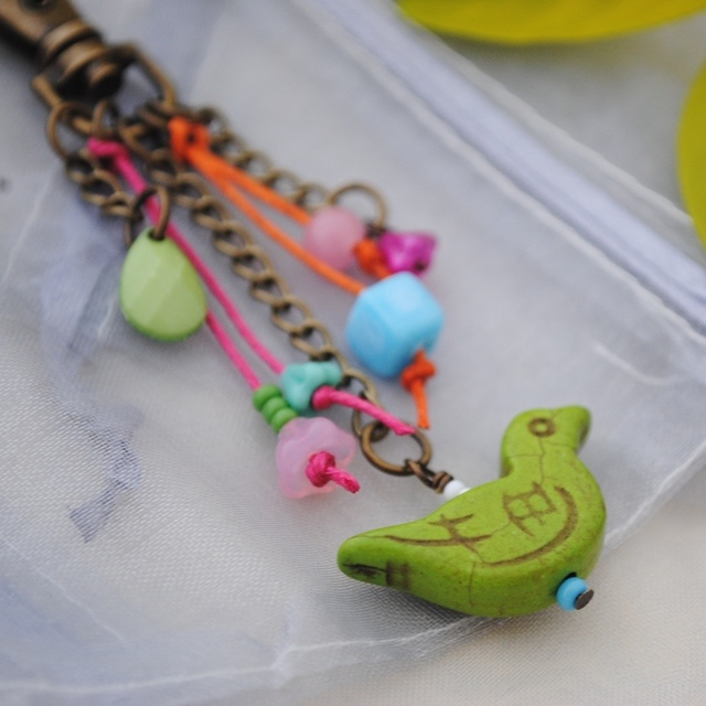 Green bird colours bag charm