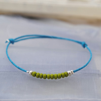 Friendship Bracelet-Turquoise with green beads