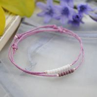 Friendship Bracelet-Double set violet with white & purple beads