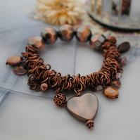 Copper scrunchie stretch charm bracelet
