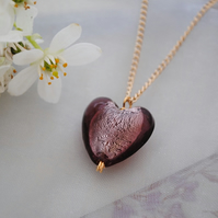 Purple heart pendant necklace