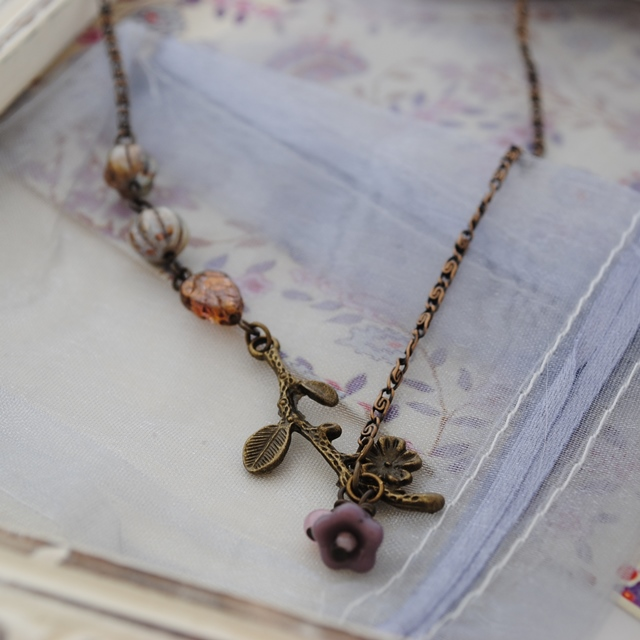 Titania flower & branch necklace