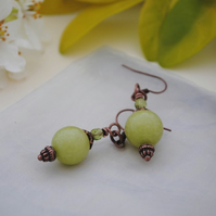 Green jade & copper earrings