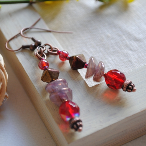 Sale-Red & Copper earrings