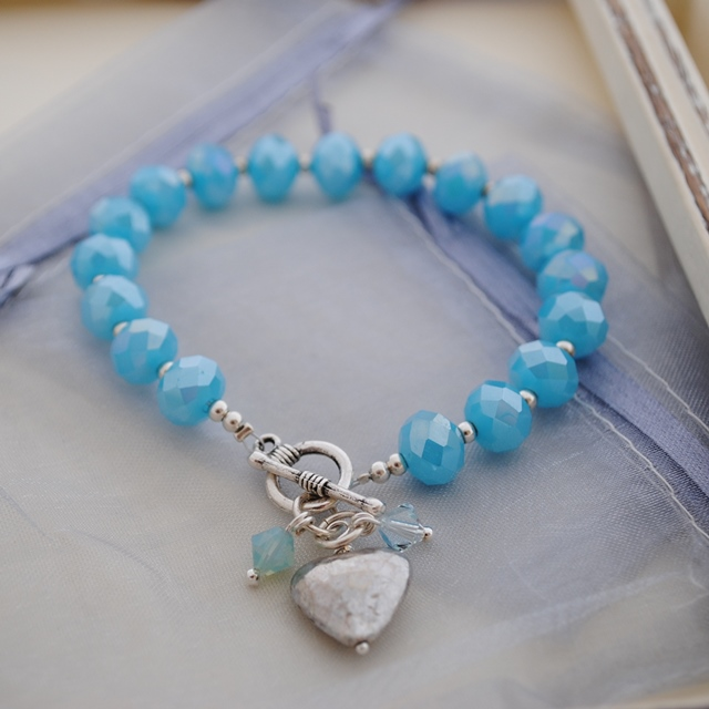 Sale-Baby Blue crystal and silver bracelet