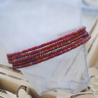 Red lustre wrap (memory wire) Bracelet