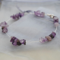 Sale-Amethyst floating bracelet