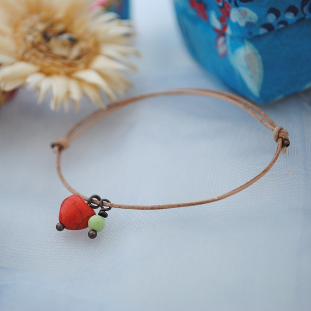 Friendship Bracelet-Leather & red howlite Heart