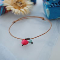 Friendship Bracelet-Leather & Fuchsia Howlite Heart