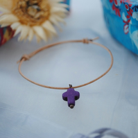 Friendship Bracelet-Leather & Howlite Cross (purple)